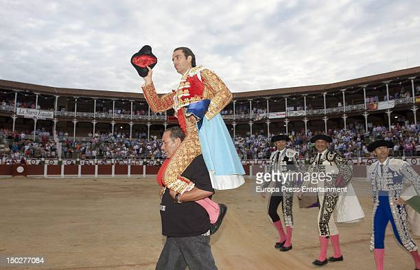 Miguel Angel Perera performs a bullfight at Gijon's bullring on August 13 2012 in Gijon Spain