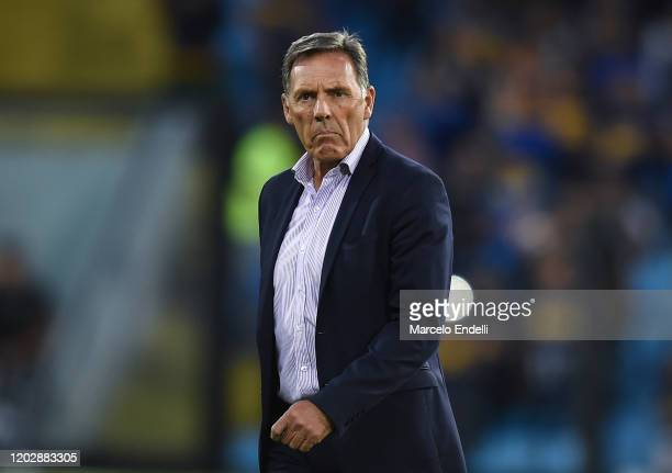 Miguel Angel Russo coach of Boca Juniors looks on before a match between Boca Juniors and Godoy Cruz as part of Superliga 2019/20 at Alberto J....