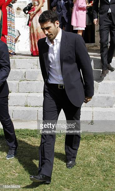 Miguel Angel Silvestre attends the wedding of Juan Pablo Shuk and Ana De La Lastra on September 22 2012 in Biescas Spain