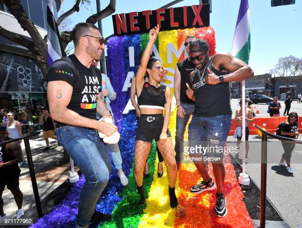 Miguel Angel Silvestre Freema Agyeman and Toby Onwumere are seen on the Netflix original series Sense8 float at the Los Angeles Pride Parade on June...