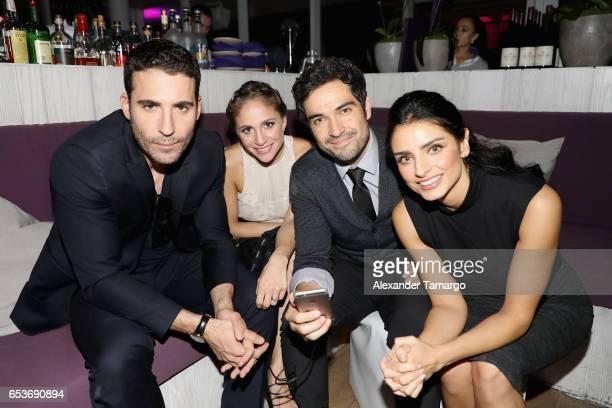 Miguel Angel Silvestre guest Alfonso Herrera andAislinn Derbez attend the Netflix Ingobernable S1 Premiere Miami Screening 2017 on March 15 2017 in...