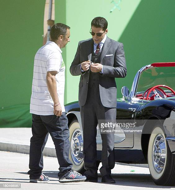 Miguel Angel Silvestre is seen on set filming 'Galerias Velvet' on September 10 2013 in Madrid Spain