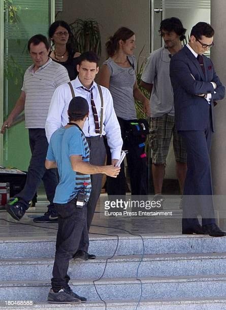 Miguel Angel Silvestre is seen on set filming 'Galerias Velvet' on September 10, 2013 in Madrid, Spain.