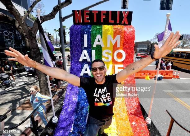 Miguel Angel Silvestre is seen on the Netflix original series Sense8 float at the Los Angeles Pride Parade on June 10 2018 in West Hollywood...