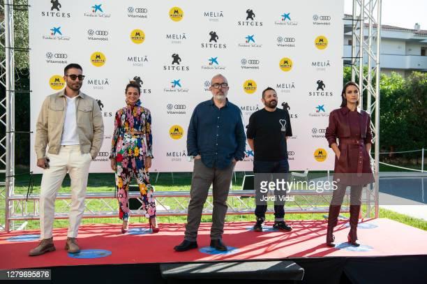 "Miguel Angel Silvestre, Macarena Gomez, Alex de la Iglesia, Pepon Nieto and Megan Montaner attend the photocall of ""30 Monedas"" during Sitges Film..."