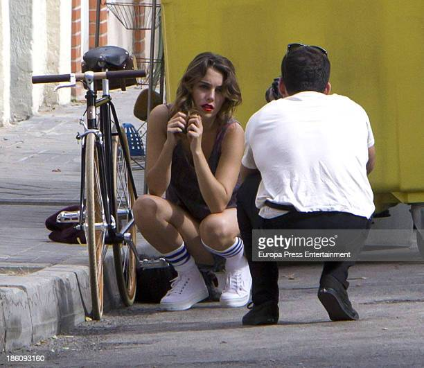Miguel Angel Silvestre takes pictures of her girlfriend the actress Blanca Suarez on October 2 2013 in Madrid Spain