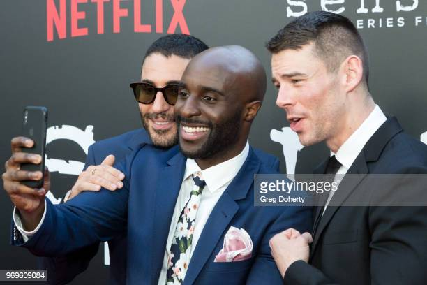 Miguel Angel Silvestre Toby Onwumere and Brian J Smith attend Netflix's Sense8 Series Finale Fan Screening at ArcLight Hollywood on June 7 2018 in...