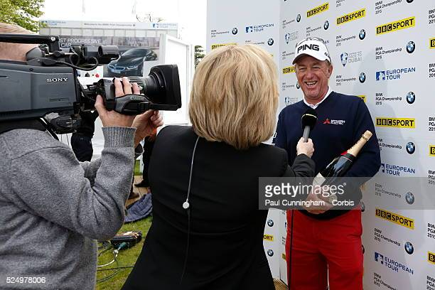 Miguel Angelgives Jimenez gives media interviews to BBC Sport Hazel Irvine after he finishes the day at 10 under par with a hole in one at the 2nd...