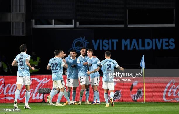 Miguel Baeza of Celta Vigo celebrates with team mates Brais Mendez , Hugo Mallo Iago Aspas , Okay Yokuslu after scoring their sides second goal...
