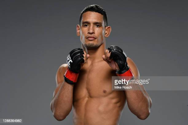 Miguel Baeza poses for a post fight portrait backstage during the UFC Fight Night at UFC APEX on November 28, 2020 in Las Vegas, Nevada.