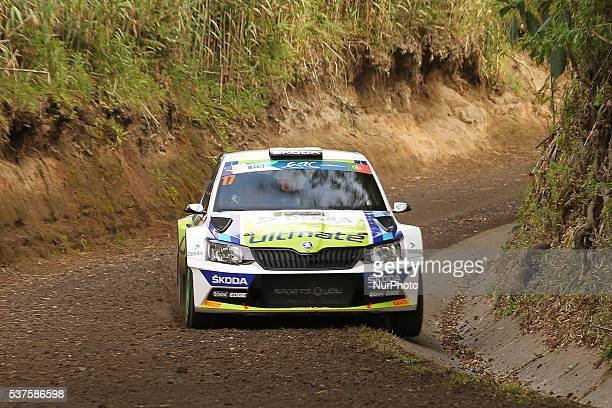 Miguel Barbosa and Miguel Ramalho in Skoda Fabia R5 of BP Ultimate Skoda Team during the shakedow of the FIA ERC Azores Airlines Rallye 2016 in Ponta...