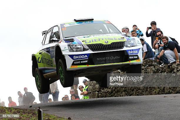 Miguel Barbosa and Miguel Ramalho in Skoda Fabia R5 of BP Ultimate Skoda Team during the SS1 Batalha of the FIA ERC Azores Airlines Rallye 2016 in...