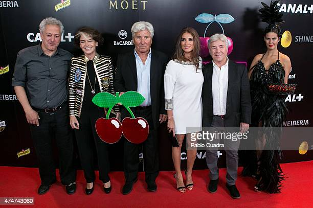 Miguel Bardem Ricardo Urgell Macarena Rey and Angel Nieto attend the 'Pacha' premiere at Capitol Cinema on May 25 2015 in Madrid Spain