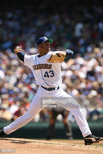 Miguel Batista of the Seattle Mariners pitches against the Cleveland Indians on July 19, 2008 at Safeco Field in Seattle, Washington.