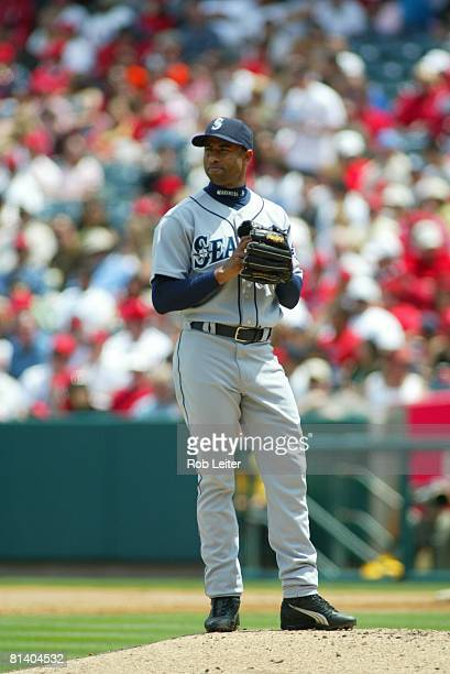 Miguel Batista of the Seattle Mariners stands on the mound during the game against the Los Angeles Angels of Anaheim at Angel Stadium in Anaheim,...