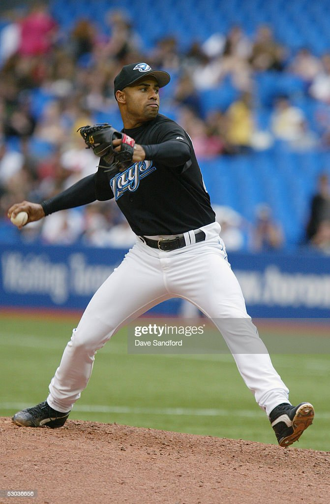 Miguel Batista #43 of the Toronto Blue Jays pitches against the Kansas City Royals during the game at Rogers Centre on May 11, 2005 in Toronto, Ontario. The Blue Jays defeated the Royals 12-9.