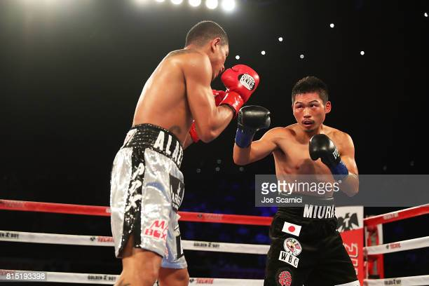 Miguel Berchelt and Takashi Miura spar in the ring during the WBC Super Featherweight Title Fight at The Forum on July 15 2017 in Inglewood California