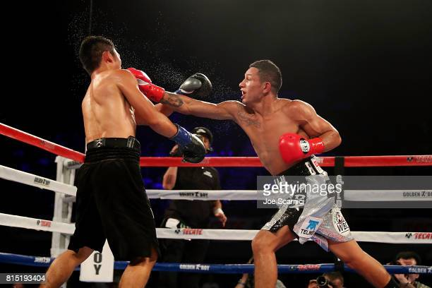 Miguel Berchelt punches Takashi Miura in the face in the fourth round of the WBC Super Featherweight Title Fight at The Forum on July 15 2017 in...