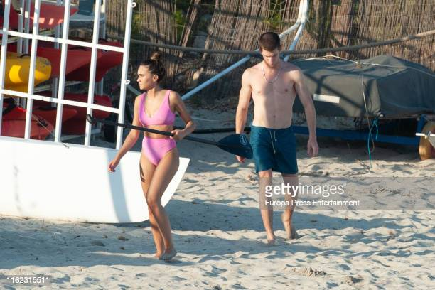 Miguel Bernardeau and Aitana Ocaña are seen on July 15, 2019 in Ibiza, Spain.