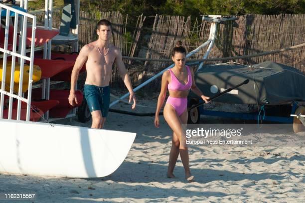 Miguel Bernardeau and Aitana Ocaña are seen on July 15 2019 in Ibiza Spain