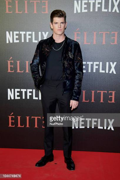 Miguel Bernardeau Mina El Hammani attend the 'Elite' premiere photocall at 'Reina Sofia Museum' in Madrid on October 2 2018