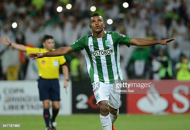 Miguel Borja of Atletico Nacional celebrates after scoring the second goal of his team through a penalty kick during a second leg semi final match...