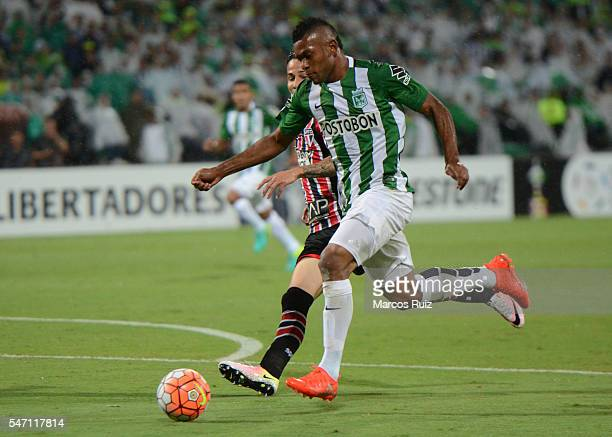 Miguel Borja of Atletico Nacional drives the ball during a second leg semi final match between Atletico Nacional and Sao Paulo as part of Copa...