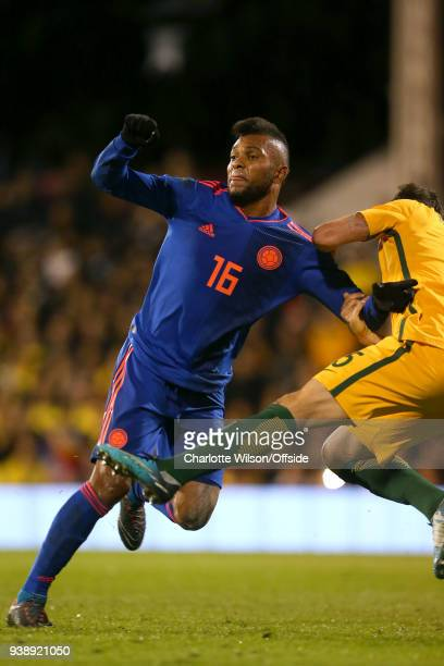 Miguel Borja of Colombia during the International Friendly match between Australia and Colombia at Craven Cottage on March 27 2018 in London England