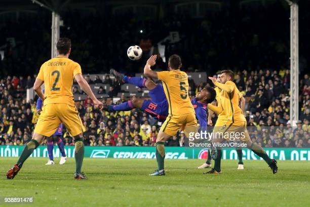 Miguel Borja of Colombia misses goal with an overhead kick during the International Friendly match between Australia and Colombia at Craven Cottage...