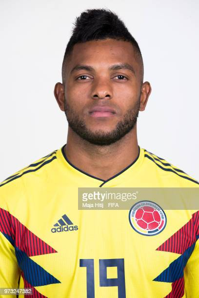 Miguel Borja of Colombia poses for a portrait during the official FIFA World Cup 2018 portrait session at Kazan Ski Resort on June 13 2018 in Kazan...