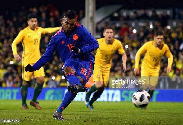 Miguel Borja of Columbia takes a penalty during the International friendly between Australia and Colombia at Craven Cottage on March 27 2018 in...