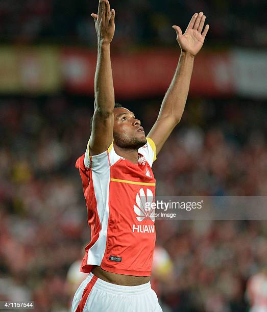Miguel Borja of Independiente Santa Fe celebrates with teammates after scoring during a match between Independiente Santa Fe and Jaguares FC as part...