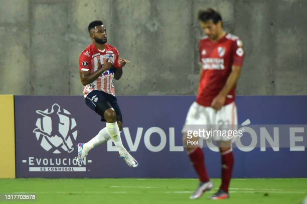 Miguel Borja of Junior celebrates after scoring the first goal of his team during a match between Junior and River Plate as part of group D of Copa...