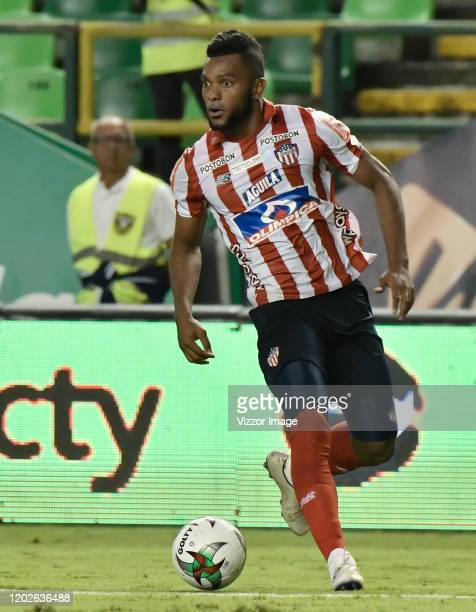 Miguel Borja of Junior in action during a match between Deportivo Cali and Junior as part of Liga BetPlay DIMAYOR I 2020 at Estadio Deportivo Cali on...