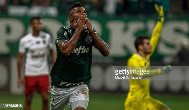 MIguel Borja of Palmeiras celebrates after scoring the opening goal during a match between Palmeiras and Fluminense for the Brasileirao Series A 2018...