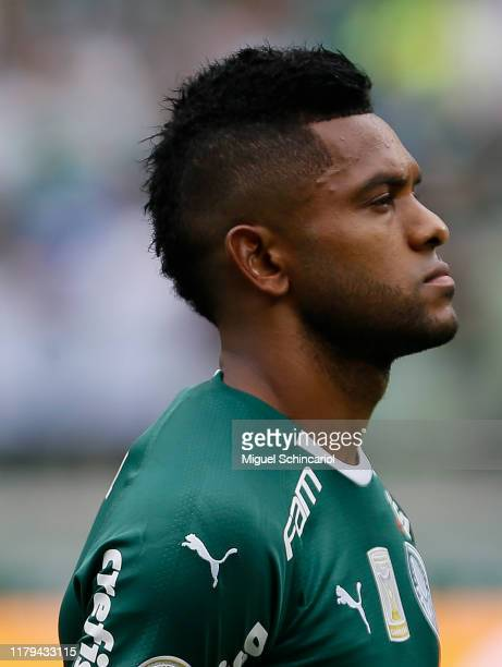 Miguel Borja of Palmeiras looks on prior to a match between Palmeiras and Atletico MG for the Brasileirao Series A 2019 at Allianz Parque on October...