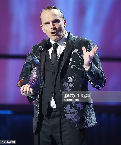 Miguel Bose accepts the Person of the Year award onstage during the 14th Annual Latin GRAMMY Awards held at Mandalay Bay Resort and Casino on...