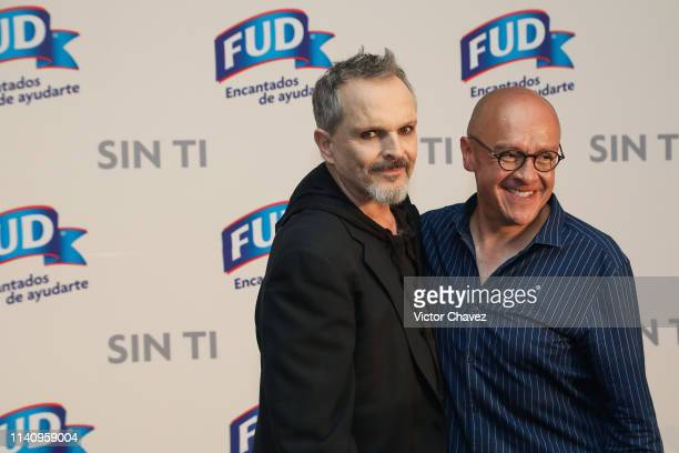 Miguel Bose and Martin Hernandez attend the presentation of the short film Sin Ti at Hotel St Regis on May 3 2019 in Mexico City Mexico