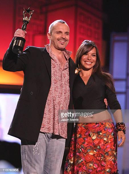 Miguel Bose and Milka Dono during El Premio de la Gente Latin Music Fan Awards 2005 Show at The Forum in Los Angeles California United States
