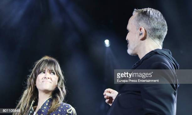 Miguel Bose and Vanesa Martin perform during his concert in Madrid at the Palacio de los Deportes on June 23 2017 in Madrid Spain