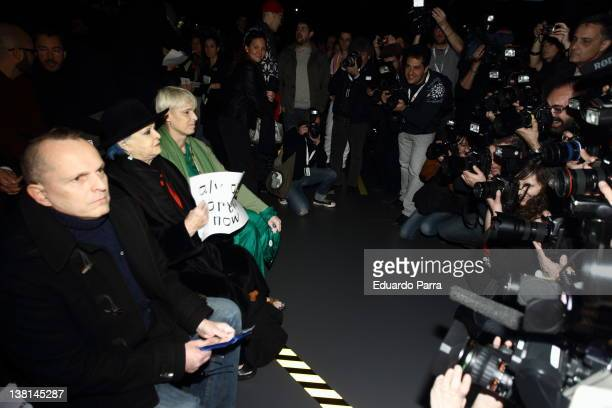 Miguel Bose, Lucia bose and Lucia Bose Dominguin attend David Delfin show during Mercedes-Benz Fashion Week Madrid A/W 2012 at Ifema on February 3,...