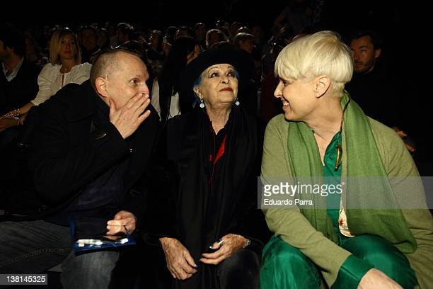 Miguel Bose Lucia bose and Lucia Bose Dominguin attend David Delfin show during MercedesBenz Fashion Week Madrid A/W 2012 at Ifema on February 3 2012...