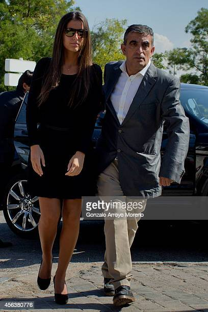 Miguel Boyer and Isabel Preysler's daughter Ana Boyer arrives at Ermita de San Isidro Cemetery on September 30 2014 in Madrid Spain Spanish...