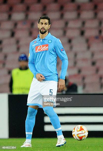 Miguel Britos of Napoli in action during the UEFA Europa League Round of 32 football match between SSC Napoli and Trabzonspor AS at the San Paolo...