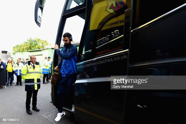 Miguel Britos of Watford arrives at the stadium prior to the Premier League match between Watford and Stoke City at Vicarage Road on October 28 2017...