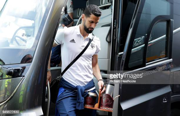 Miguel Britos of Watford arrives at the stadium prior to the Premier League match between Watford and Crystal Palace at Vicarage Road on April 21...