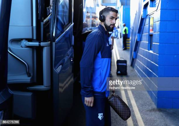 Miguel Britos of Watford arrives prior to the Premier League match between Chelsea and Watford at Stamford Bridge on October 21 2017 in London England
