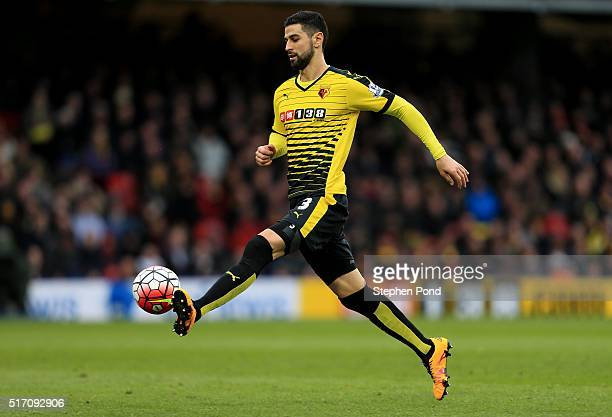 Miguel Britos of Watford during the Barclays Premier League match between Watford and Stoke City at Vicarage Road on March 19 2016 in Watford England