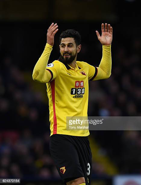 Miguel Britos of Watford during the Premier League match between Watford and Leicester City at Vicarage Road on November 19 2016 in Watford England