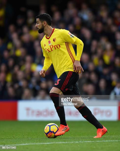 Miguel Britos of Watford during the Premier League match between Watford and Stoke City at Vicarage Road on October 28 2017 in Watford England
